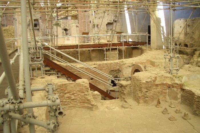 Remains of a Greco-Roman city underneath the Monastery of St Clare