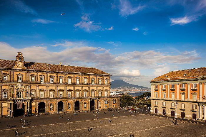 Naples - Piazza Plebiscito with Mt vesuvius in the background